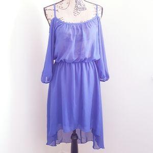 Blue Sheer Dress Off Shoulder